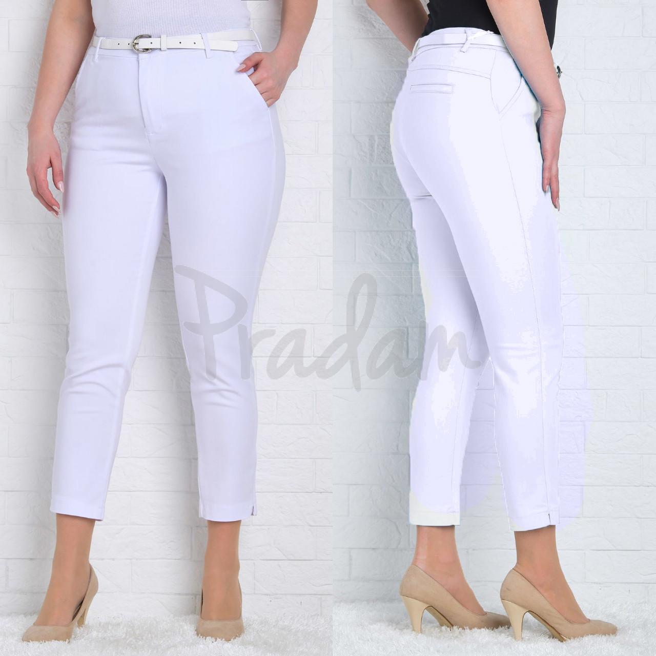 9787-B (GS9787B) Moon girl брюки женские батальные 7/8 белые весенние стрейчевые (30-42, 6/12 ед.)