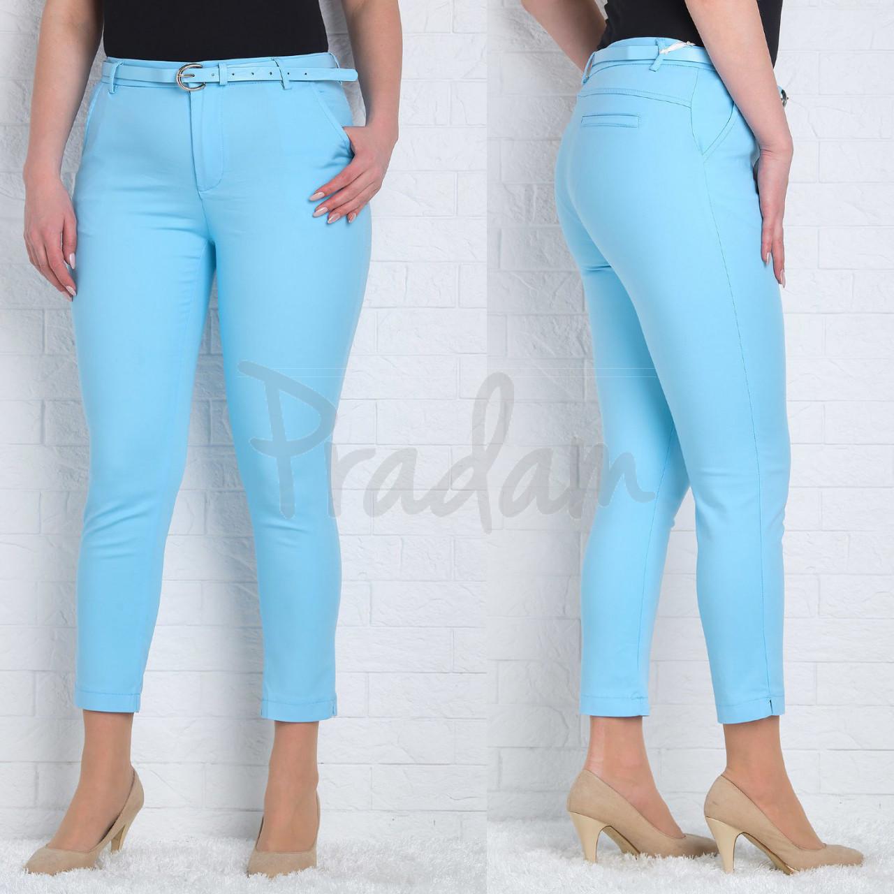 9785-I (GS9785I) Moon girl брюки женские батальные 7/8 голубые весенние стрейчевые (30-38, 12 ед.)