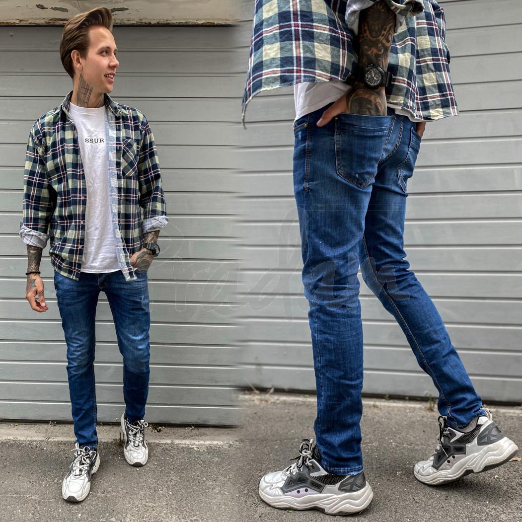 2388 Natsui джинсы мужские с царапками синие весенние стрейчевые (30-38, 8 ед.)