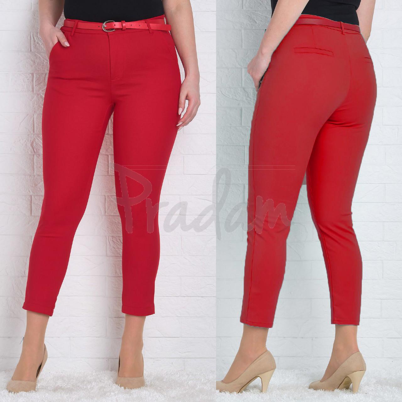 9782-L (GS9782L) Moon girl брюки женские батальные 7/8 красные весенние стрейчевые (29-36, 11 ед.)