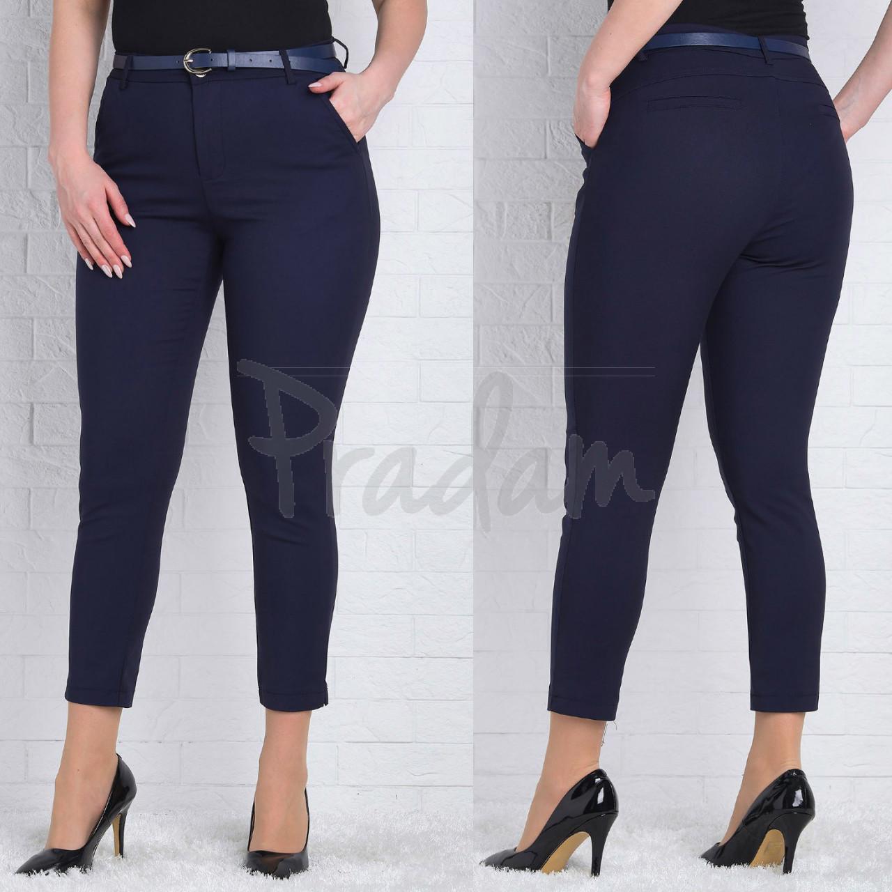 9781-R (GS9781R) Moon girl брюки женские батальные 7/8 темно-синие весенние стрейчевые (29-36, 12 ед.)