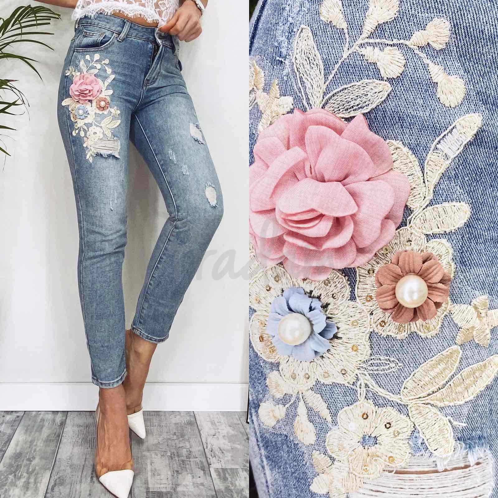 3650 New jeans мом с царапками синий весенний коттоновый (25-30, 6 ед.)