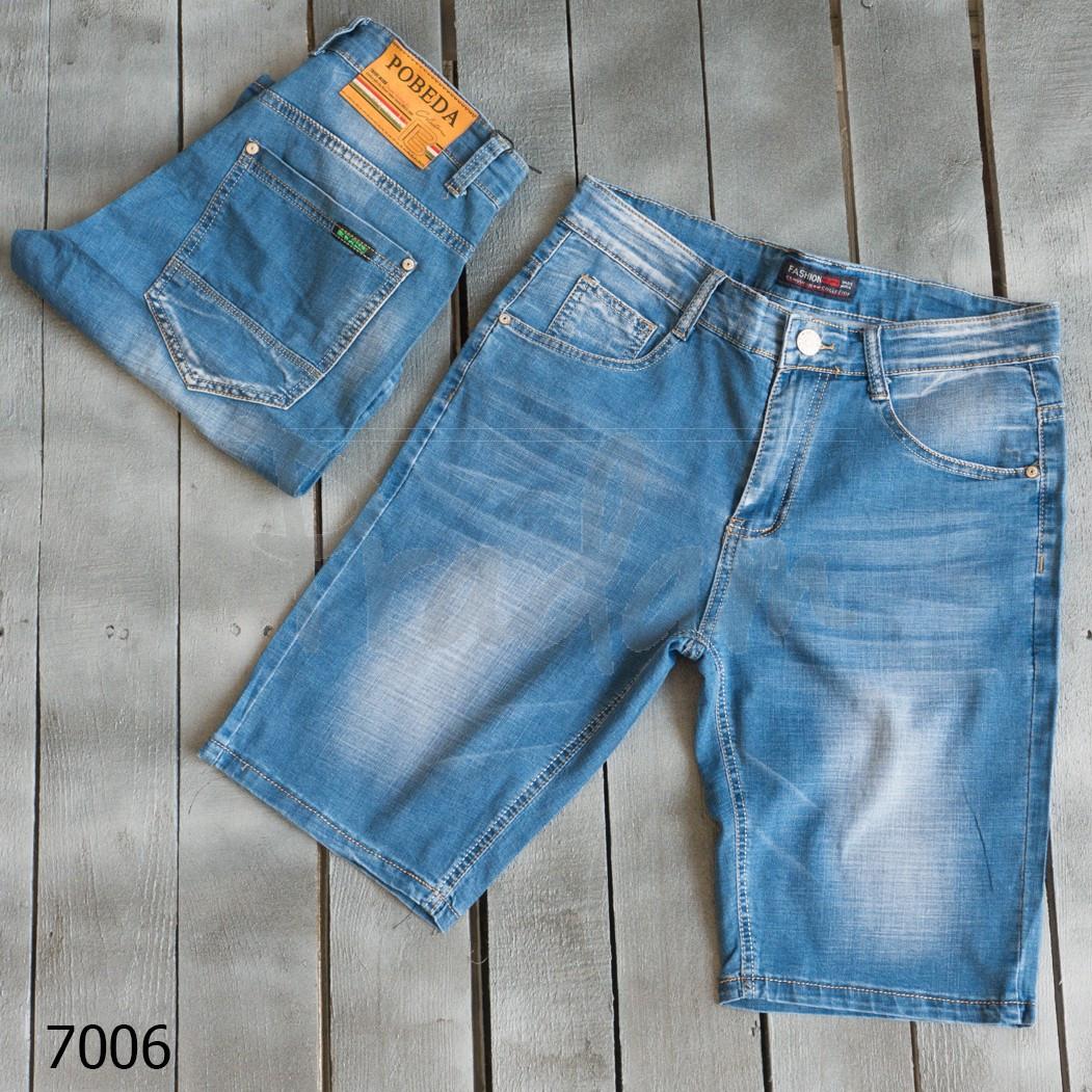 7006-02 Pobeda шорты джинсовые мужские стрейчевые (30,31,31,32,33,40, 6 ед.)