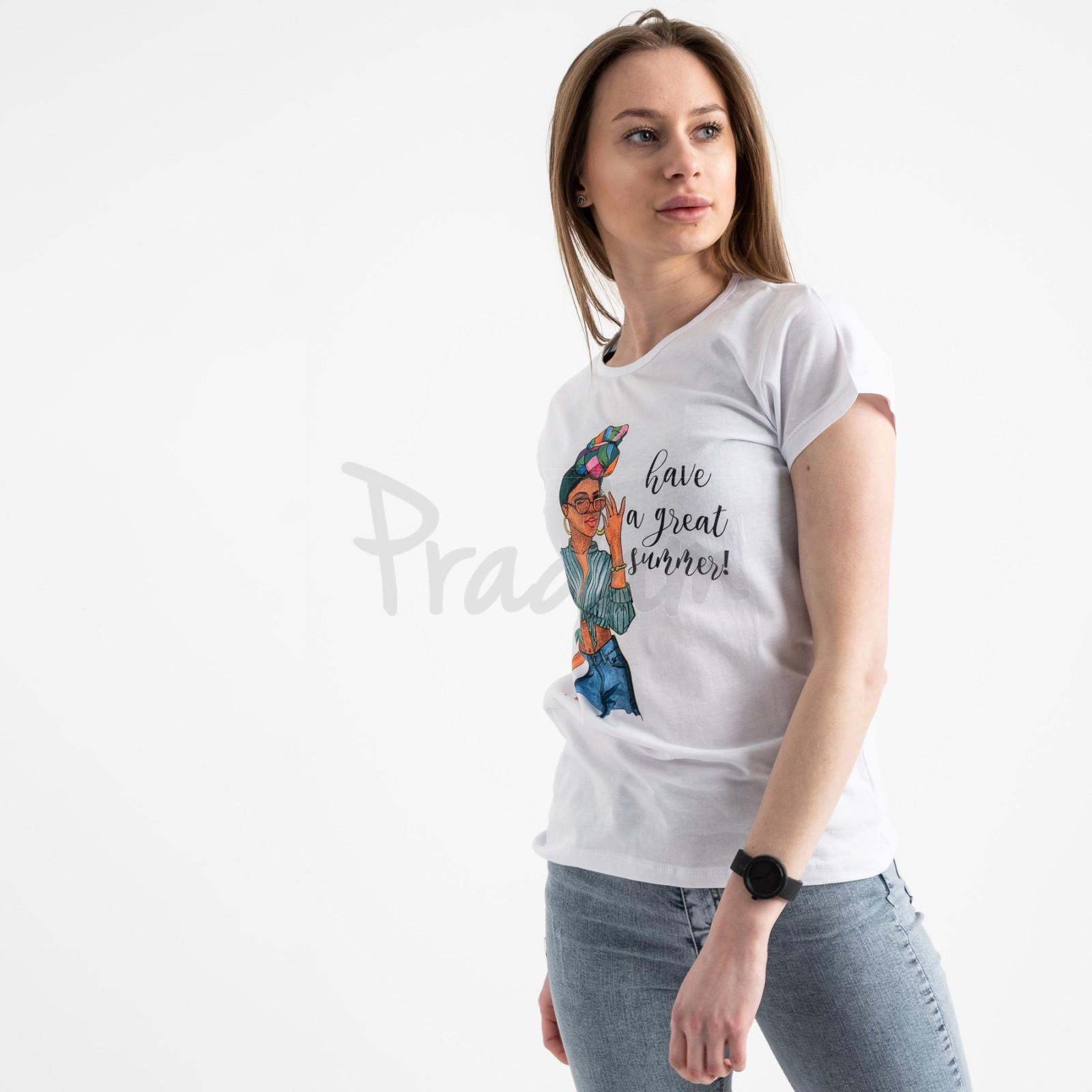 2522-10 Akkaya белая футболка женская с принтом стрейчевая (4 ед. размеры: S.M.L.XL)