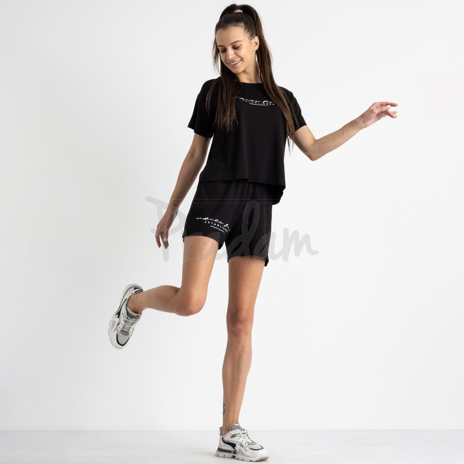 8340-1 черный женский костюм  трикотажный (4 ед. размеры: 42.44.46.48)