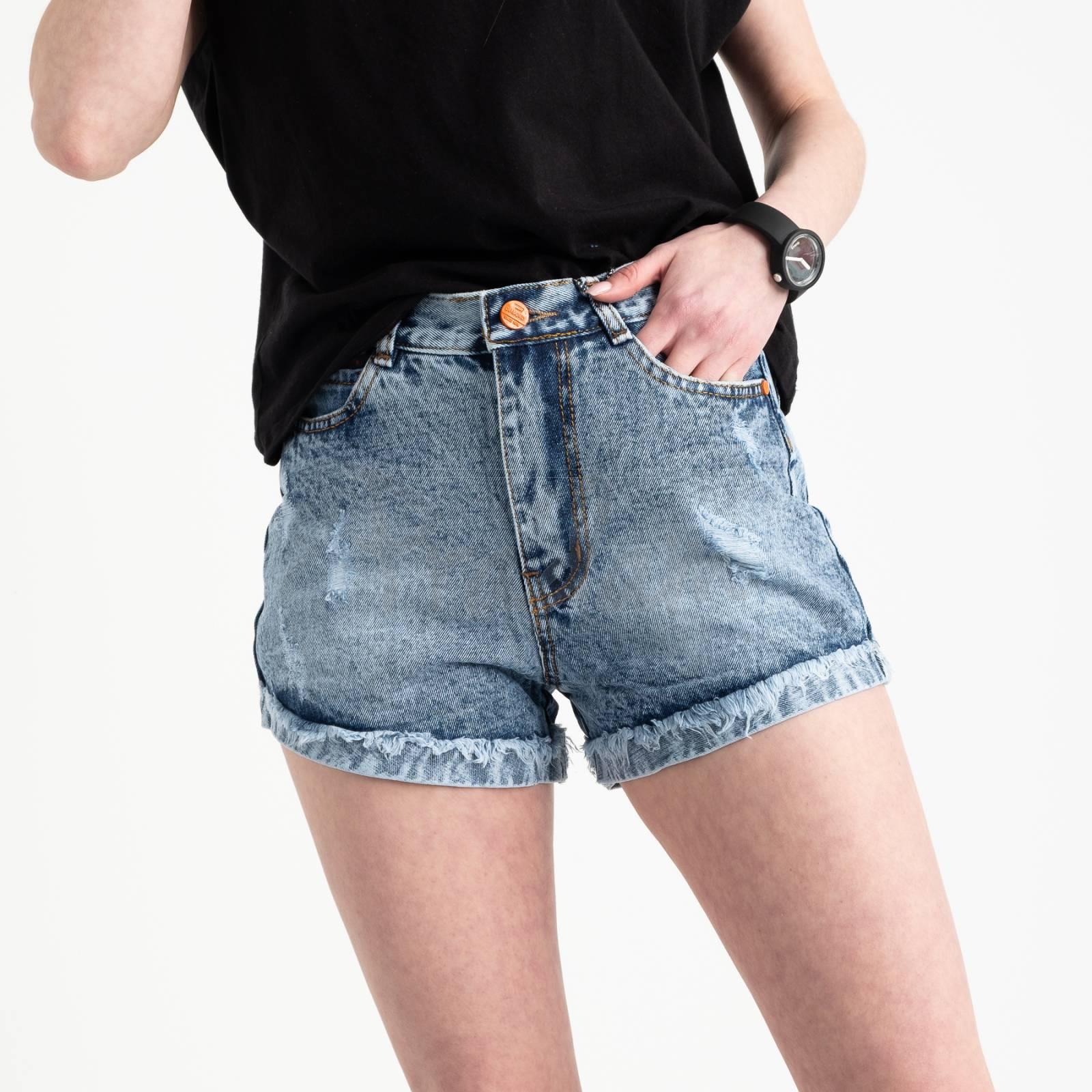 0050-15 A Relucky шорты голубые женские котоновые (6 ед. размеры: 25.26.27.28.29.30)