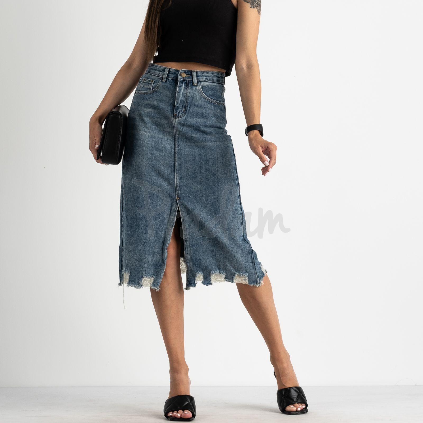 0564 KT.Moss юбка женская голубая котоновая  (6 ед. размеры: S.M/2.L/2.XL)