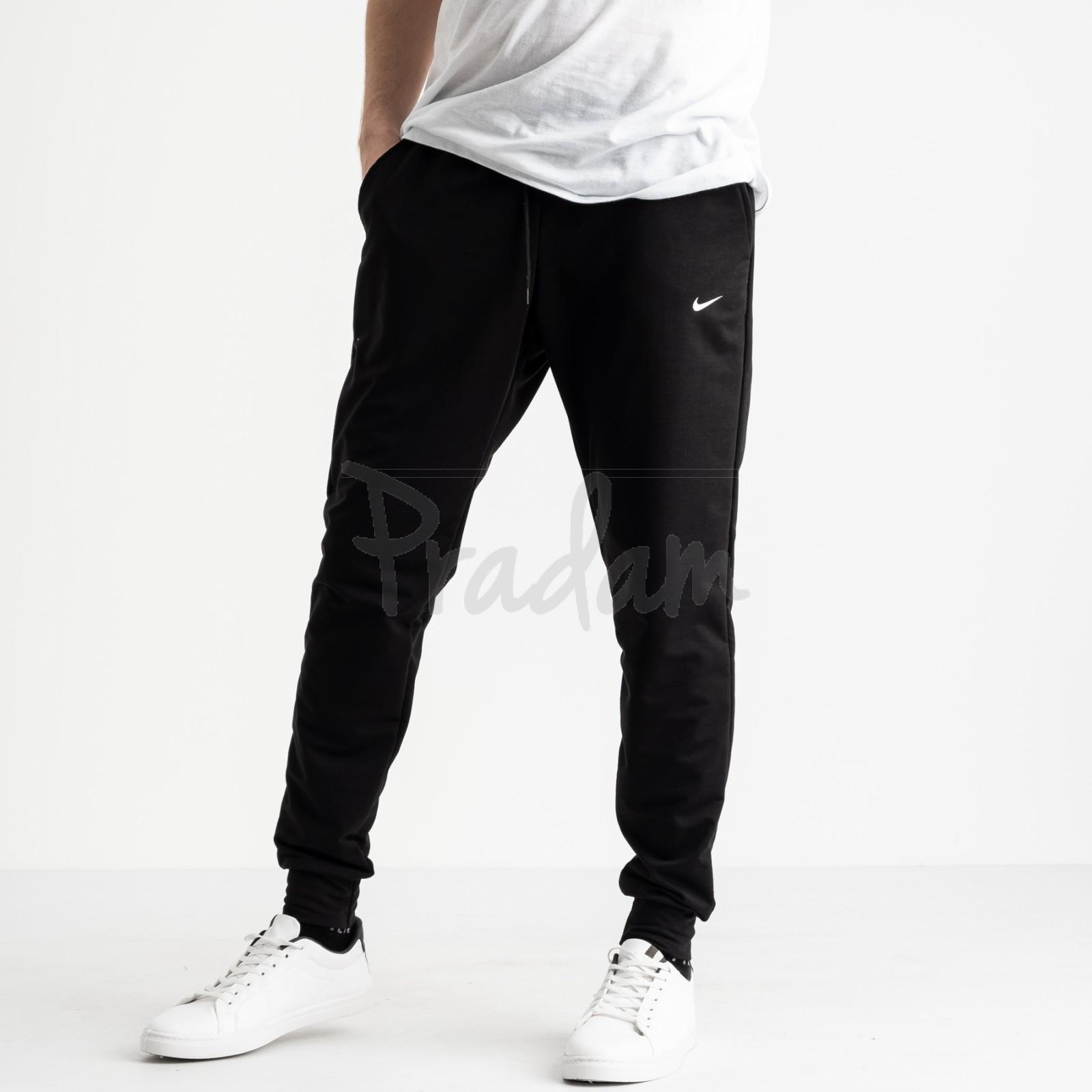 1621-11 Mishely черные мужские спортивные штаны из двунитки (4 ед. размеры: M.L.XL.2XL)