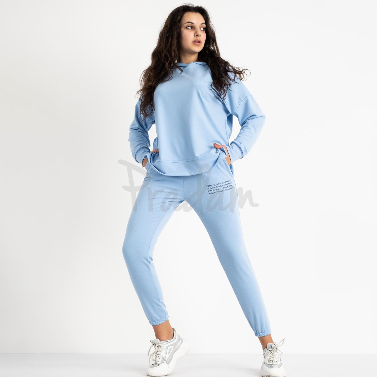 15115-121 Mishely голубой женский спортивный костюм из двунитки  (3 ед. размеры: M.L.XL)