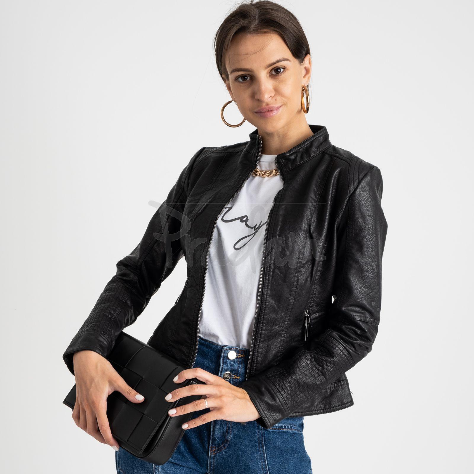 2015 куртка черная женская из кожзама (5 ед. размеры: S.M.L.XL.XXL)