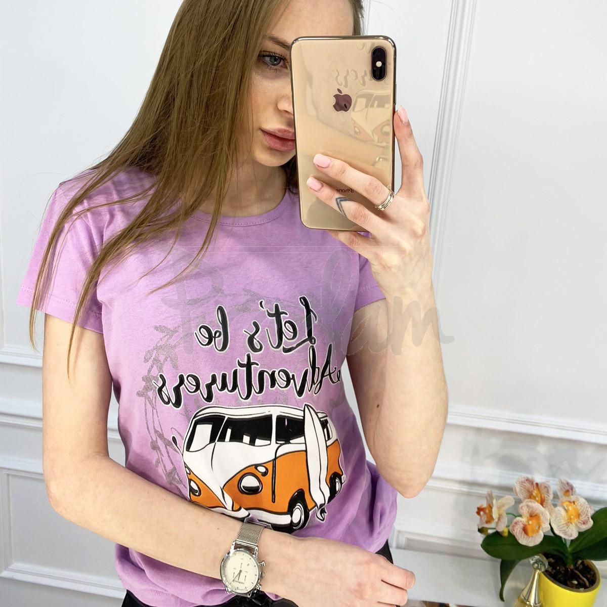 2503-7 Akkaya лиловая футболка женская с принтом стрейчевая (4 ед. размеры: S.M.L.XL)