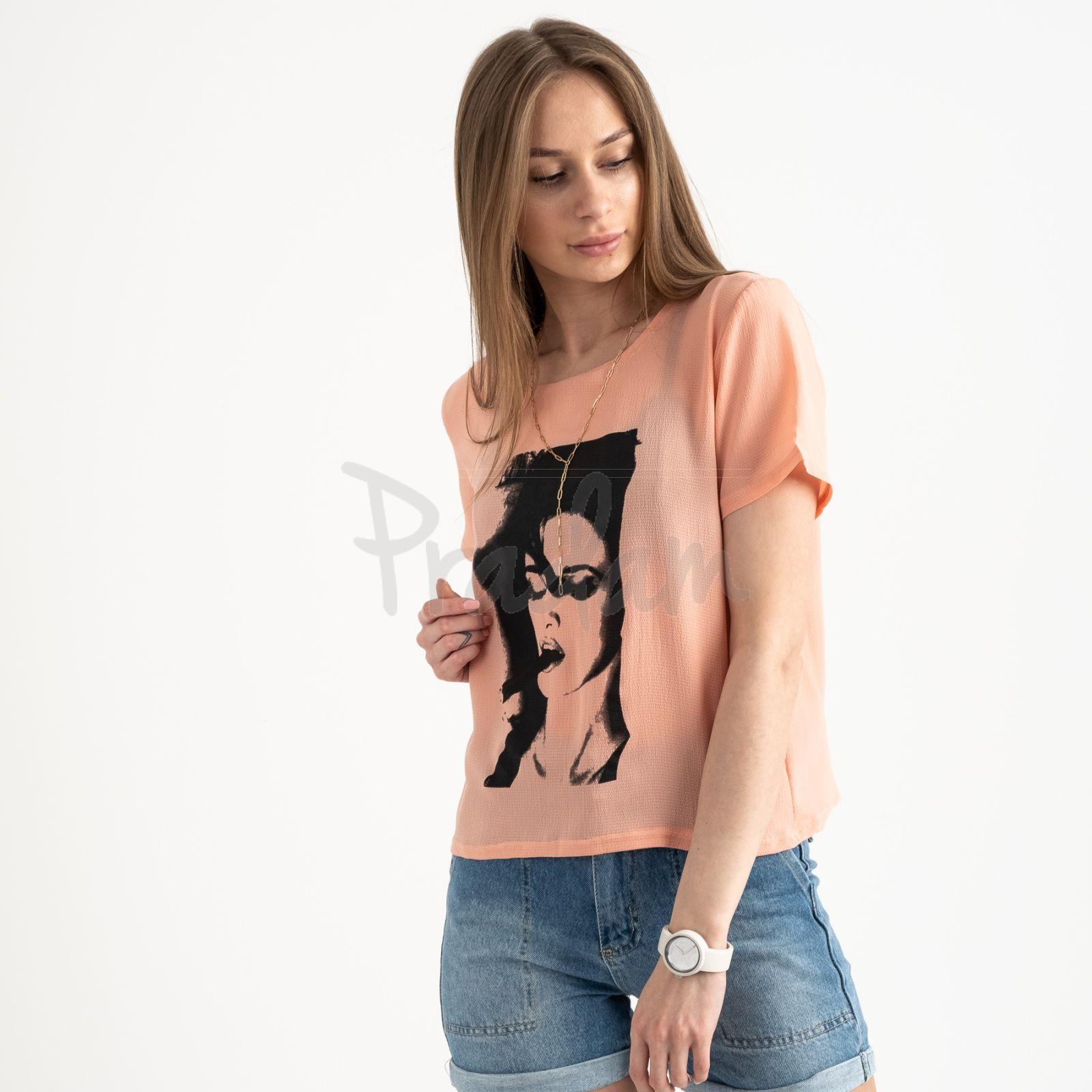 2022-7 футболка персиковая женская с принтом (5 ед. размеры: 42.44.46.48.50)