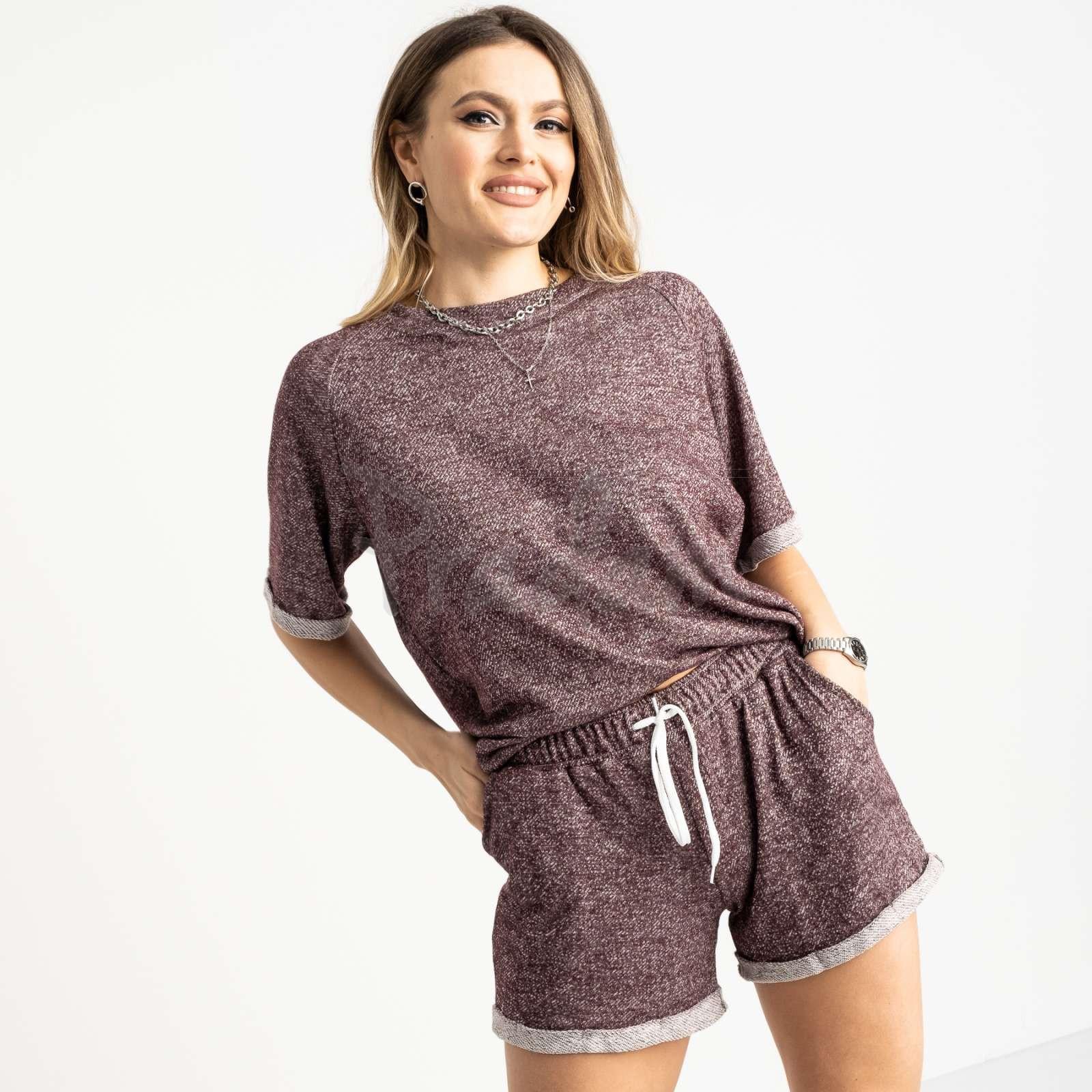 1444-5 Mishely бордовый женский спортивный костюм с шортами (4 ед. размеры: S.M.L.XL)