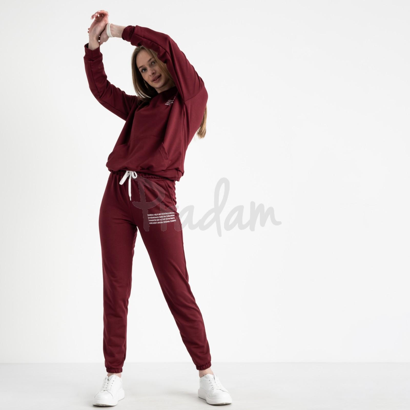 15225-2 бордовый женский спортивный костюм из двунитки (4 ед. размеры: S.M.L.XL)