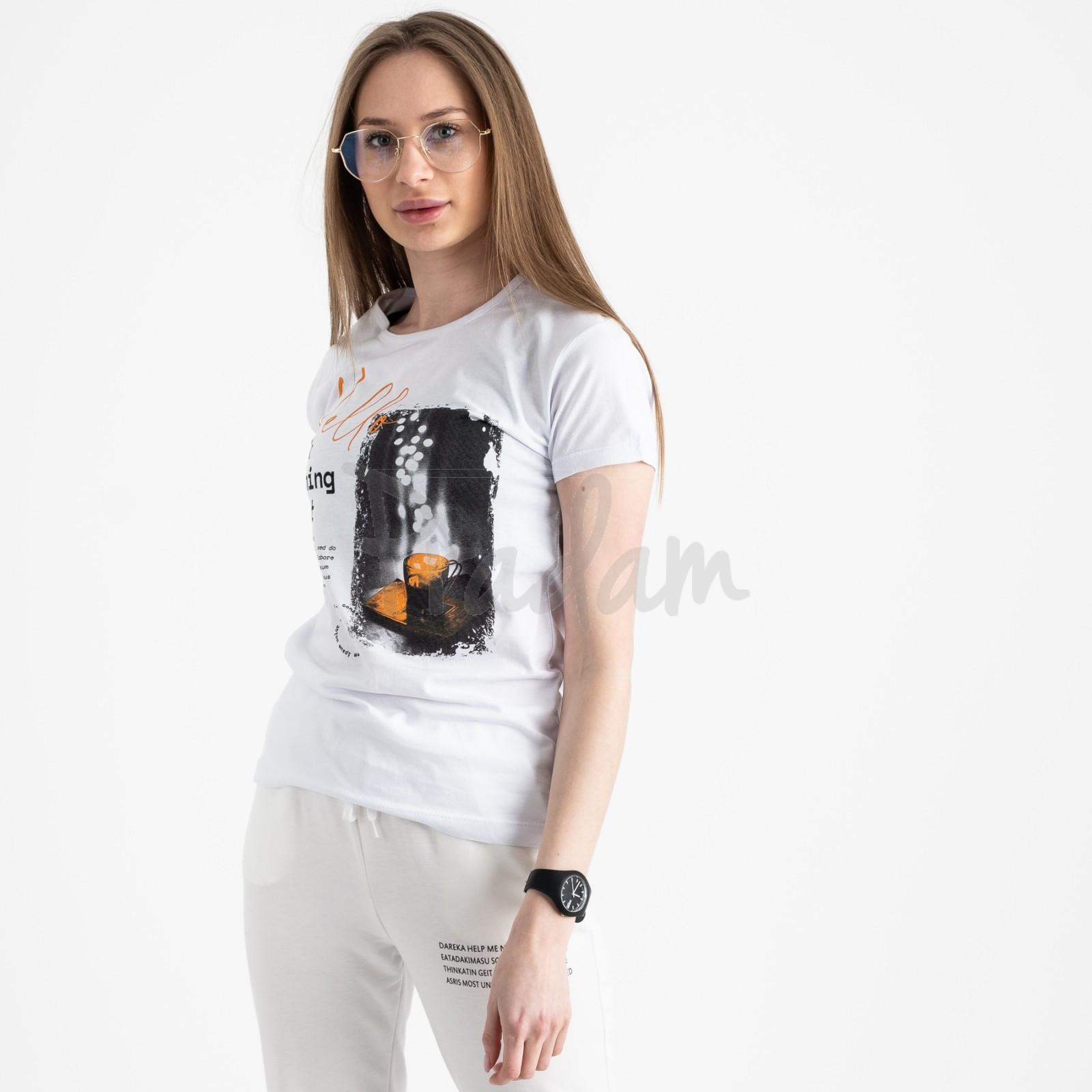 2504-10 Akkaya белая футболка женская с принтом стрейчевая (4 ед. размеры: S.M.L.XL)