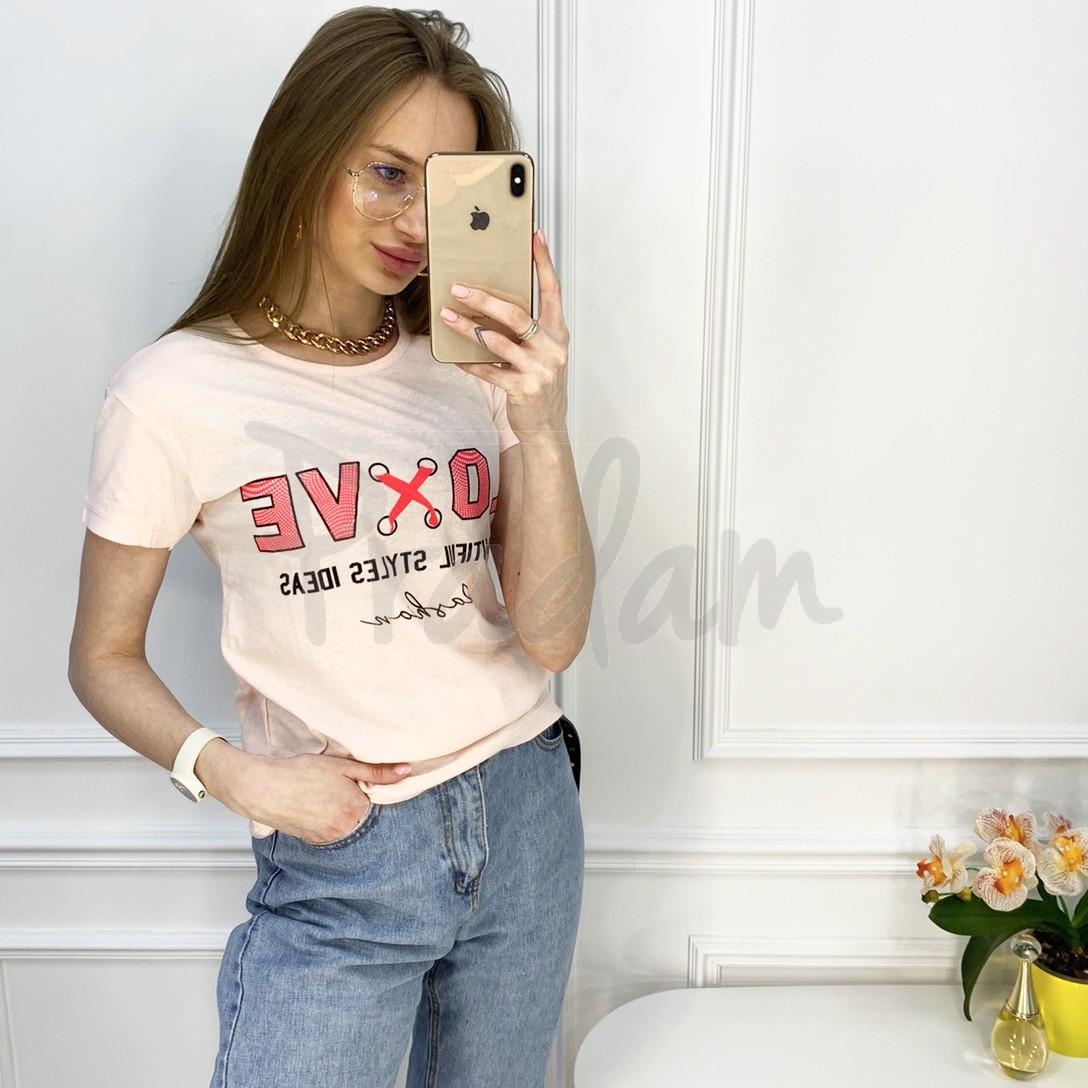 2518-2 Akkaya розовая футболка женская с принтом стрейчевая (4 ед. размеры: S.M.L.XL)