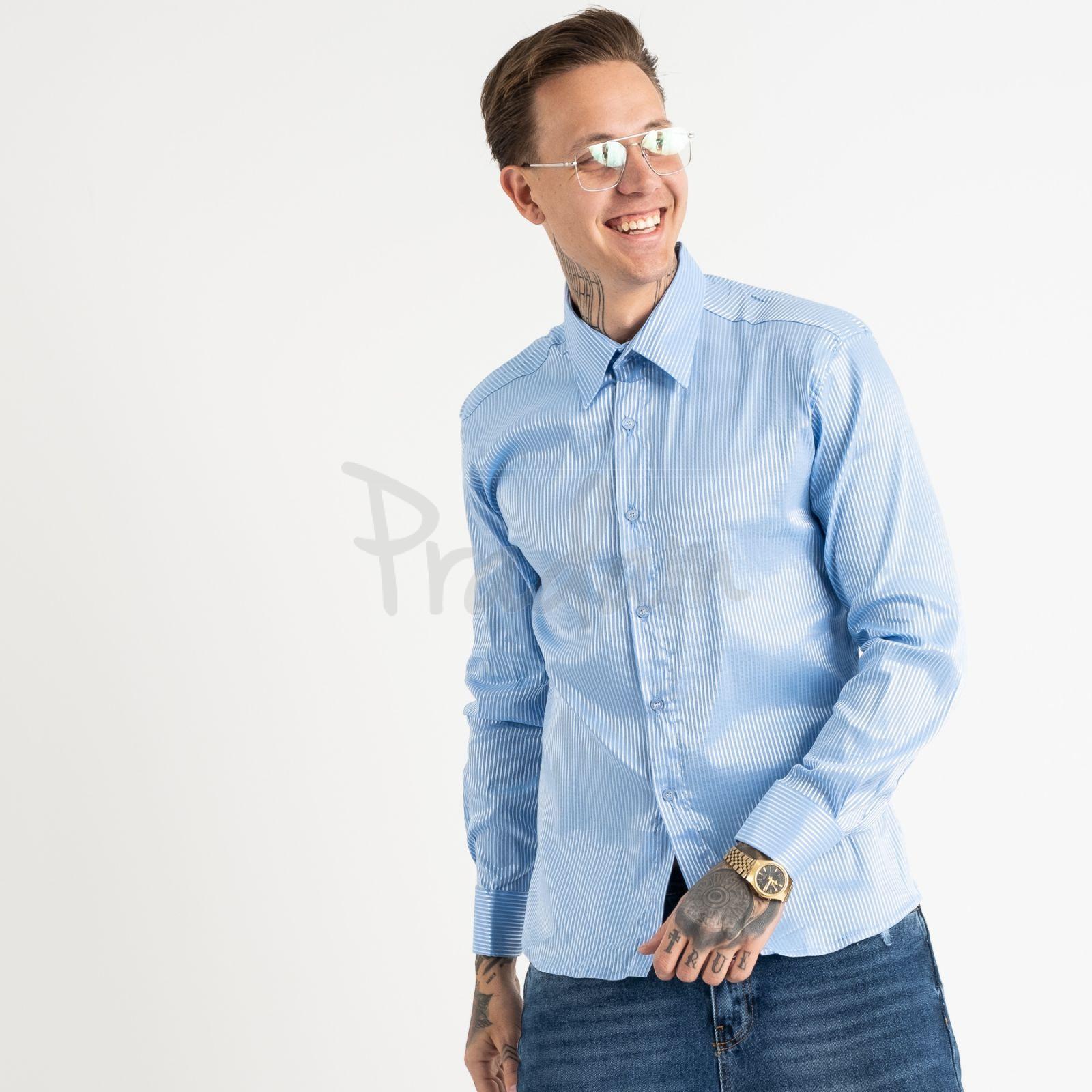 19203 IFFA голубая рубашка в серебрянную полоску (2 ед. размеры: L/2)