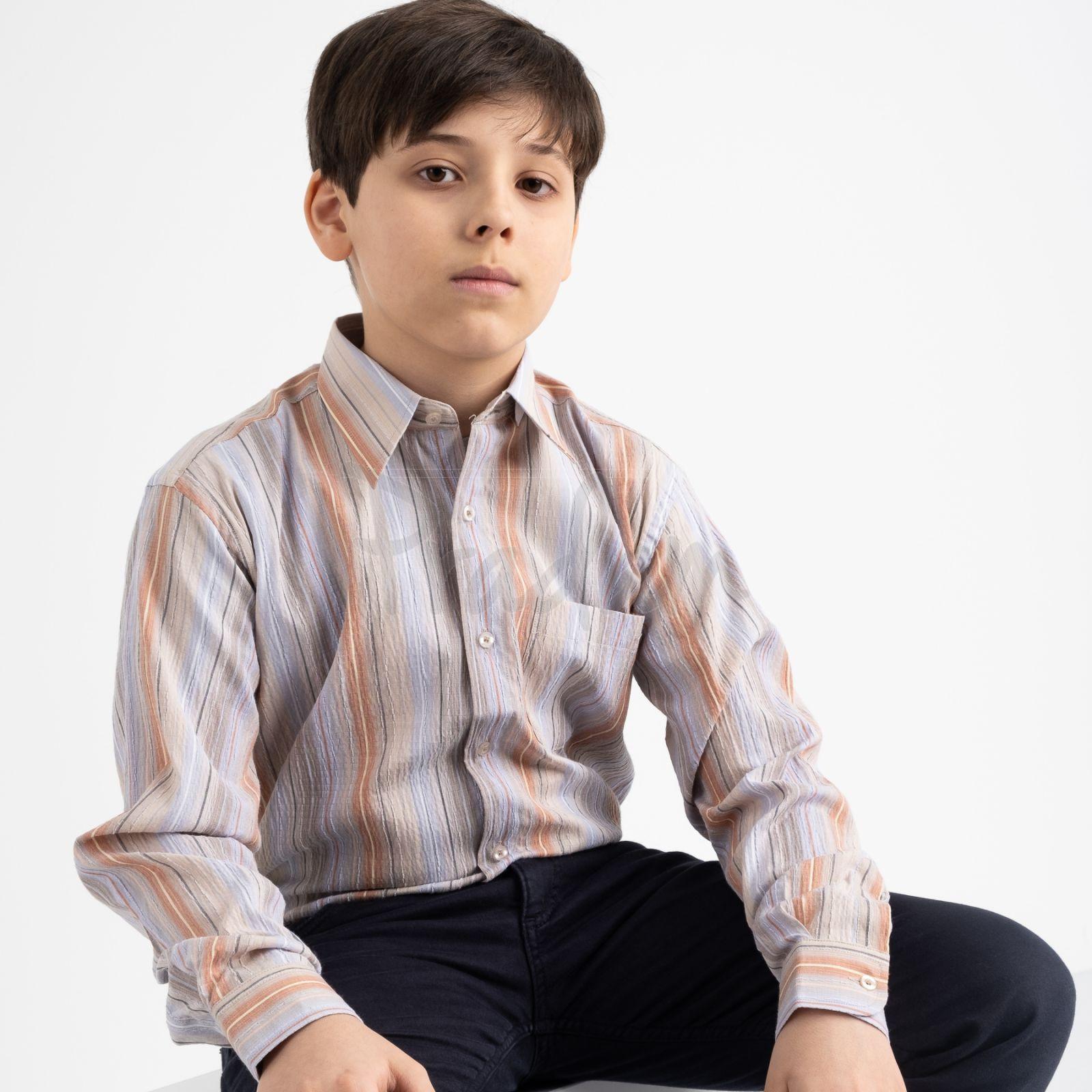 1906 Boston Public бежевая рубашка в полоску на мальчика 7-15 лет (5 ед. размеры: 30/31.32/33.33/34.34/35.35/36)