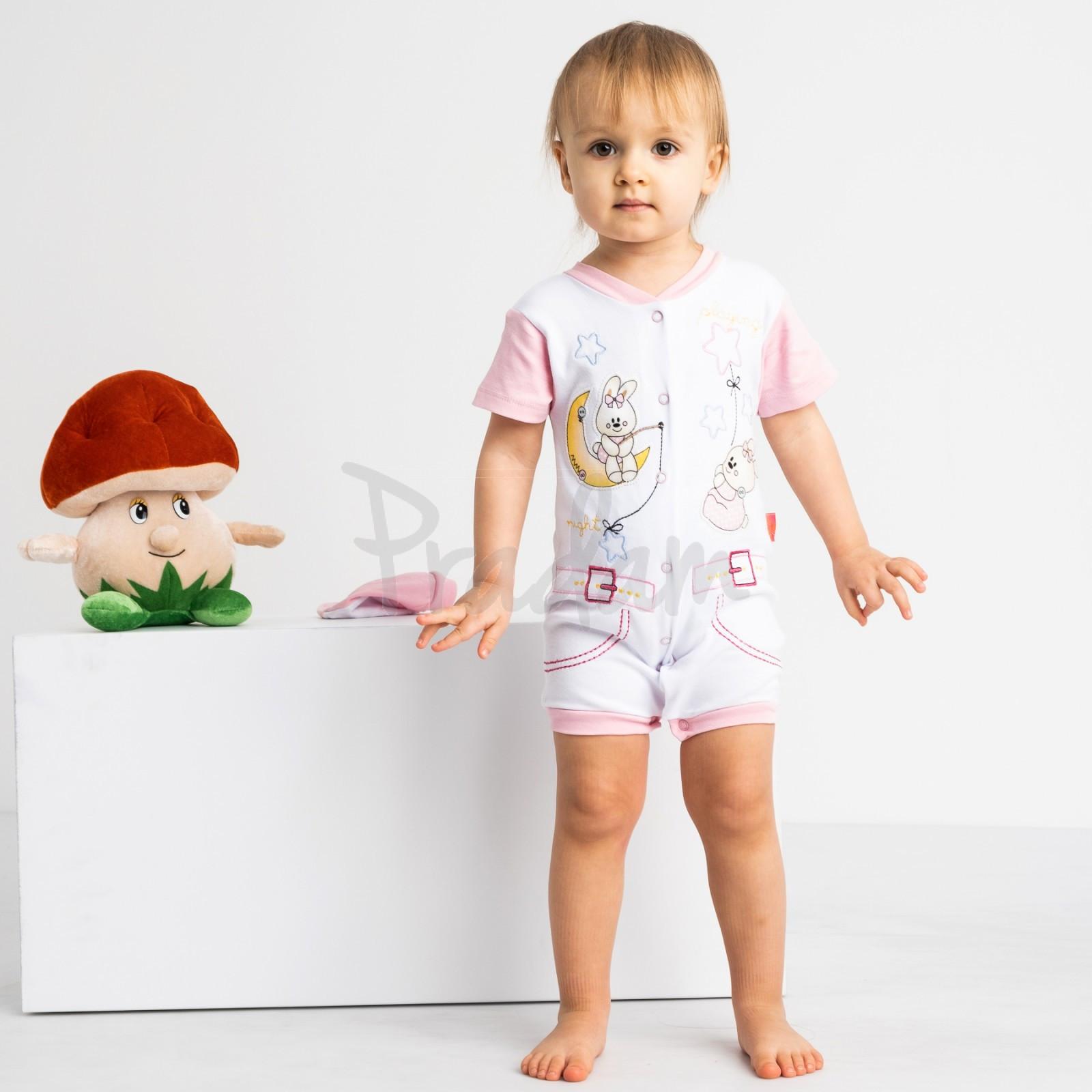 17062 Emotion Kids розовый комплект (комбинезон+шапочка) на девочку 1-9 мес. (6 ед. размеры: 62.62.68.68.74.74)