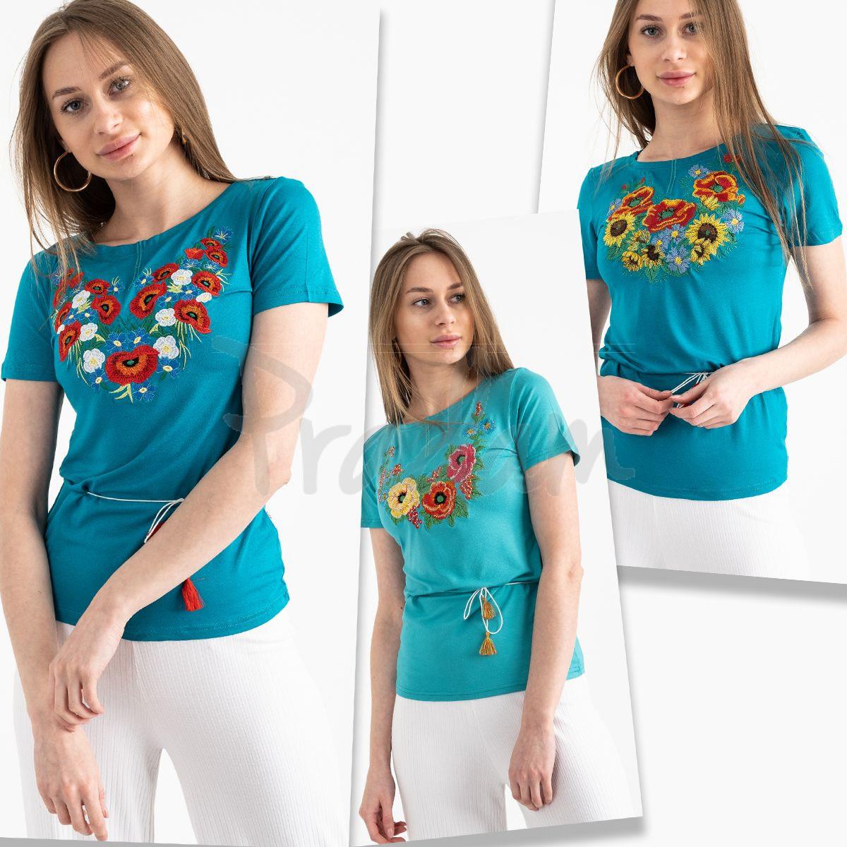 1821 бирюзовая футболка-вышиванка женская микс моделей (5 ед. размеры: S.M.L.XL.2XL)
