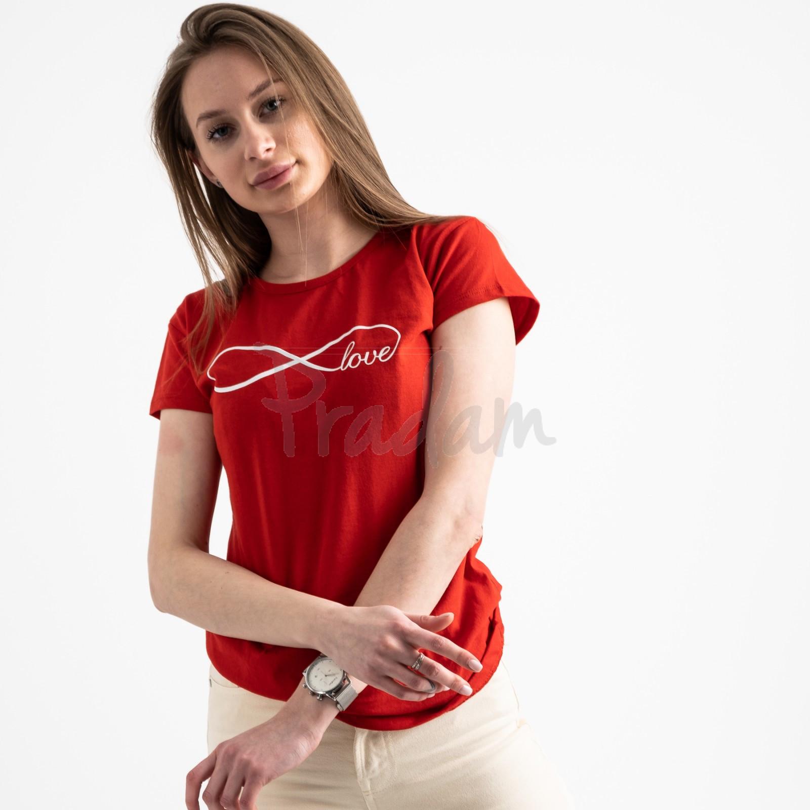 2577-3 красная футболка женская с принтом (3 ед. размеры: S.M.L)