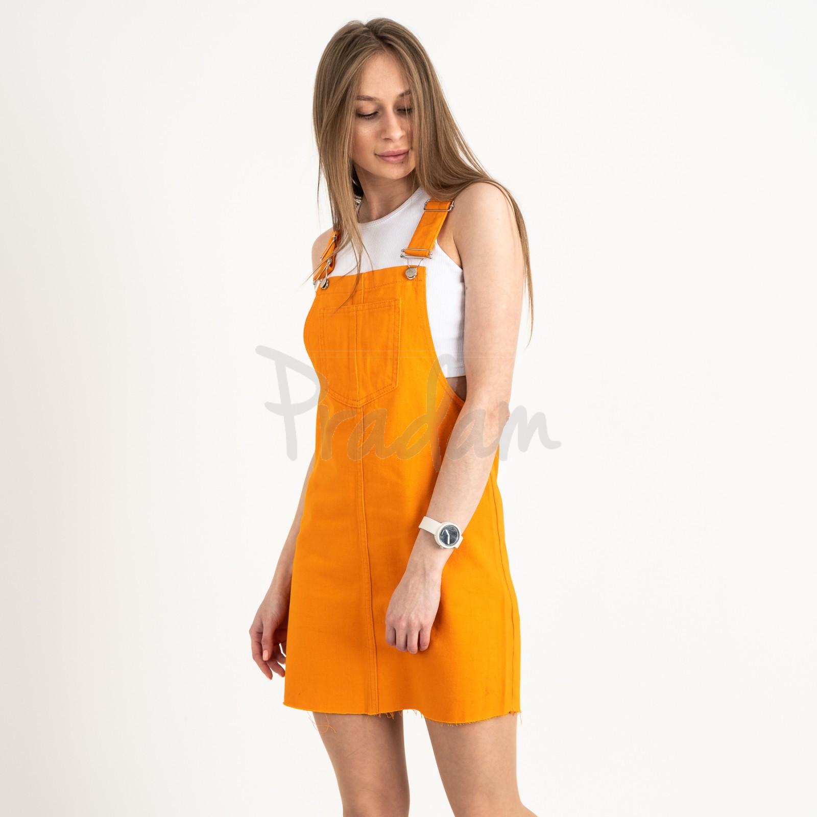 2907-6 Defile сарафан джинсовый оранжевый котоновый  (6 ед. размеры: 34.36/2.38/2.40)