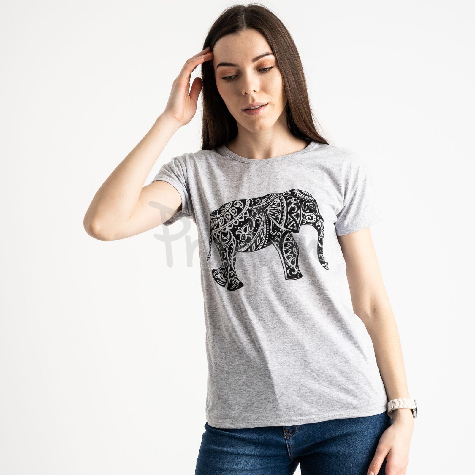 2575-5 серая футболка женская с принтом (3 ед. размеры: S.M.L)