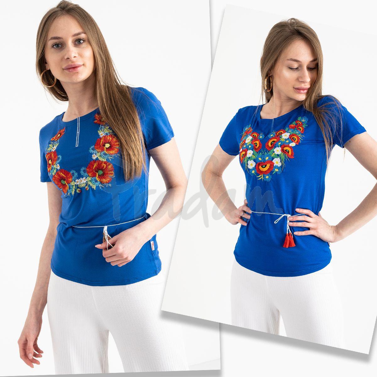 1823 синяя футболка-вышиванка женская микс моделей (5 ед. размеры: S.M.L.XL.2XL)