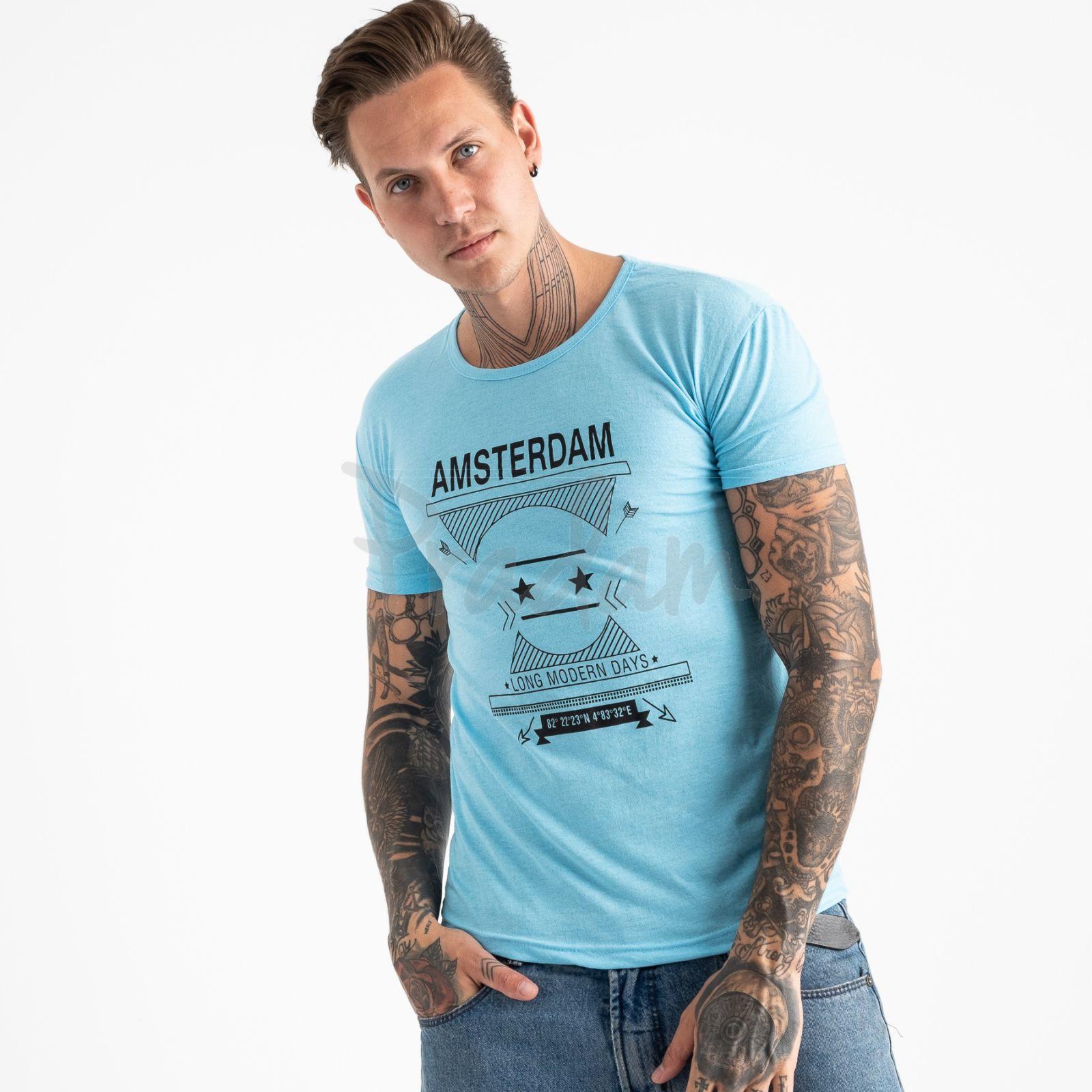2604-13 светло-голубая футболка мужская с принтом (4 ед. размеры: M.L.XL.2XL)