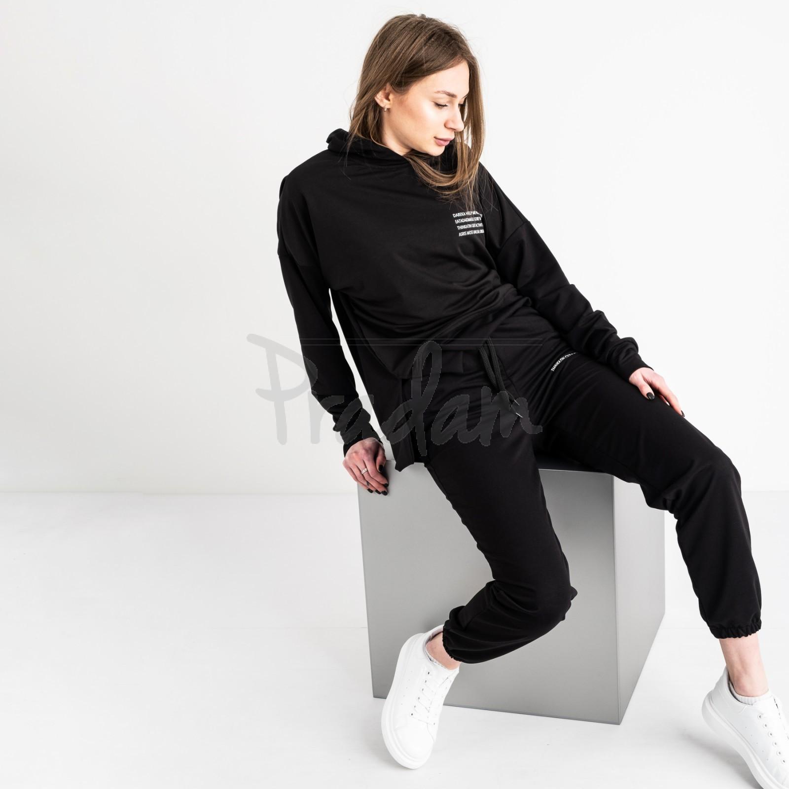 15115-1 черный спортивный костюм женский из двунитки (4 ед. размеры: S.M.L.XL)