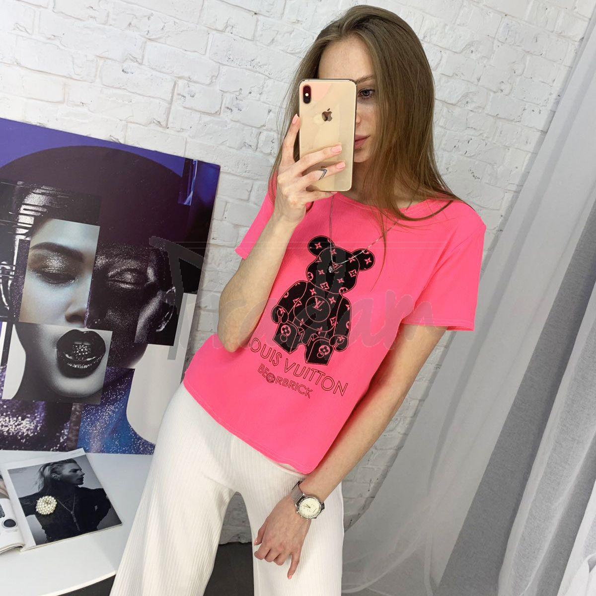2021-2 футболка розовая женская с принтом (5 ед. размеры: 42.44.46.48.50)