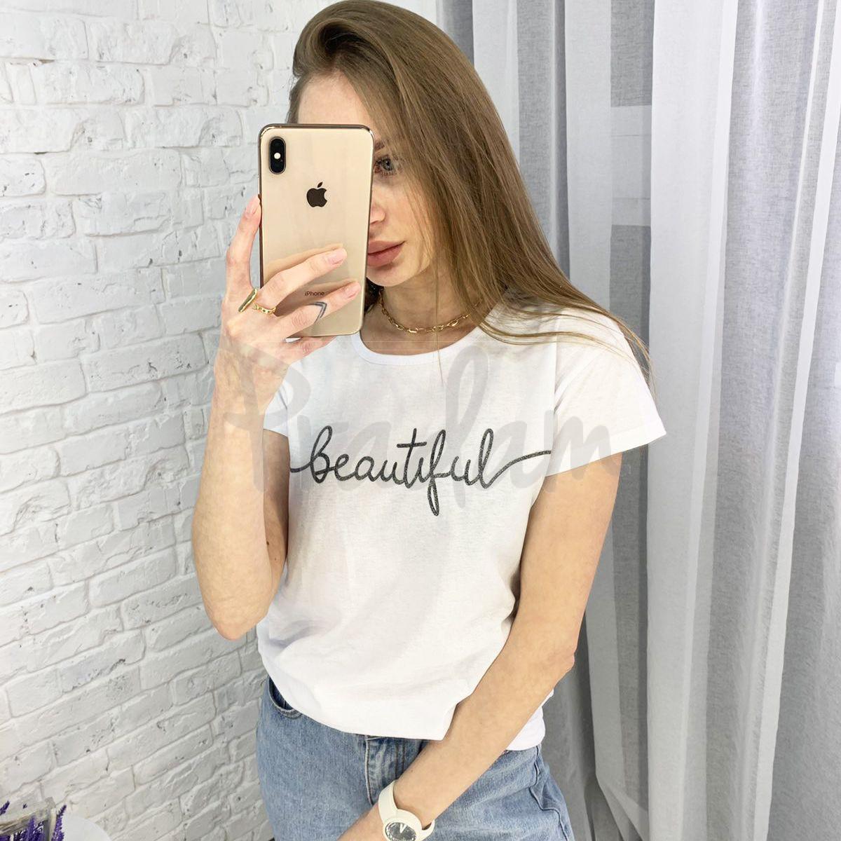 2595-10 белая футболка женская с принтом (3 ед. размеры: S.M.L)