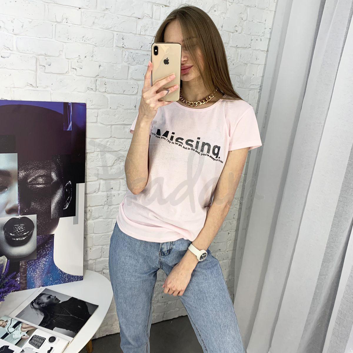 2401-2 светло-розовая футболка женская с принтом (4 ед. размеры: S.M.L.XL)