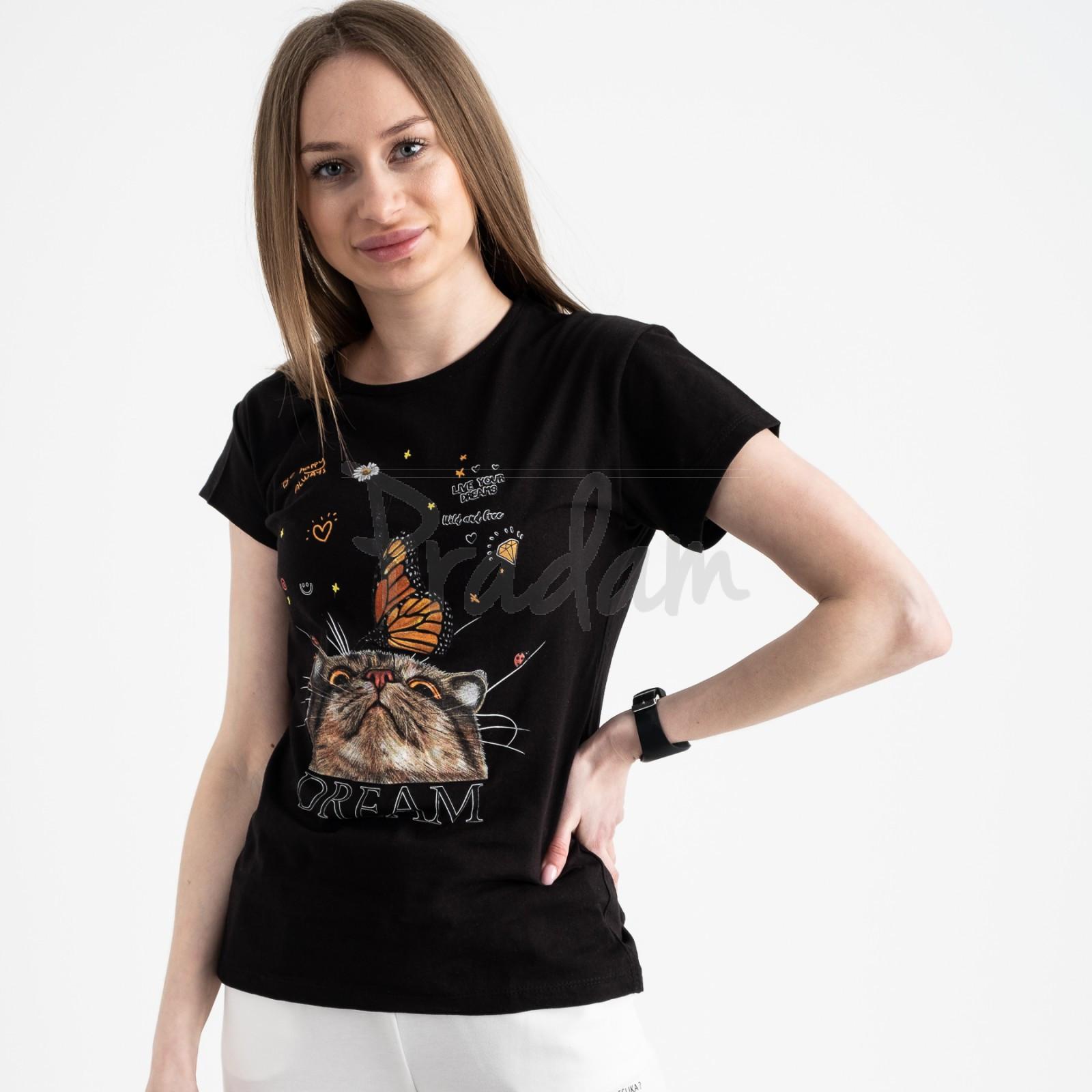2516-1 Akkaya черная футболка женская с принтом стрейчевая (4 ед. размеры: S.M.L.XL)