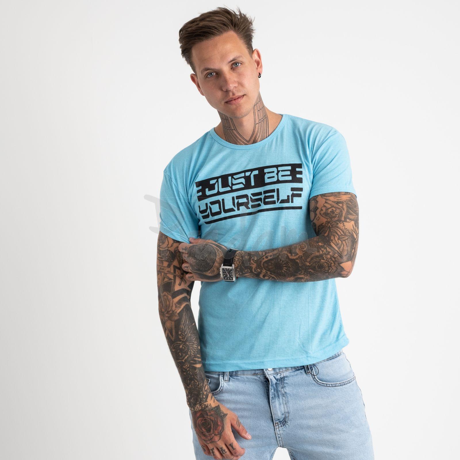 2620-13 голубая футболка мужская с принтом (4 ед. размеры: M.L.XL.2XL)