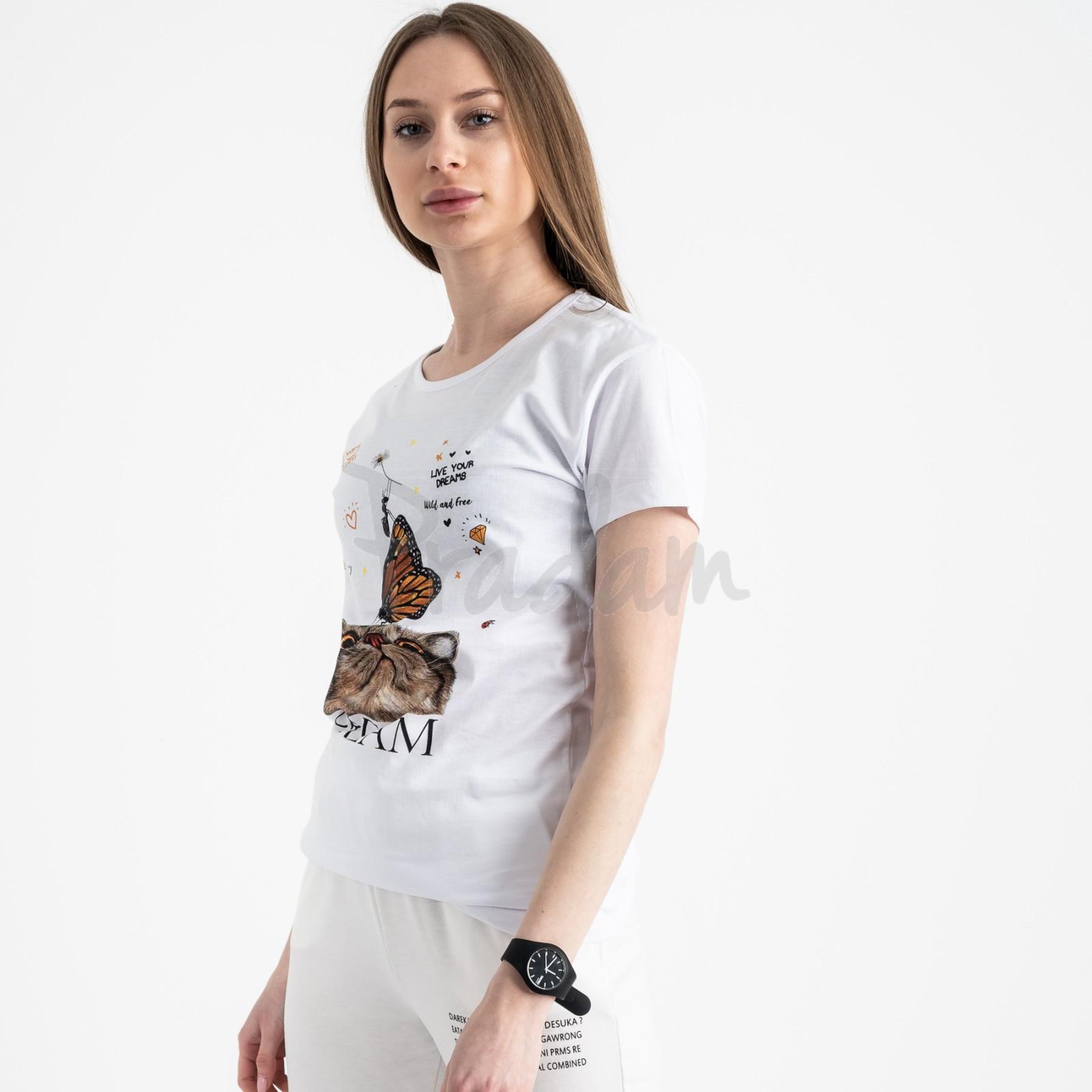 2516-10 Akkaya белая футболка женская с принтом стрейчевая (4 ед. размеры: S.M.L.XL)