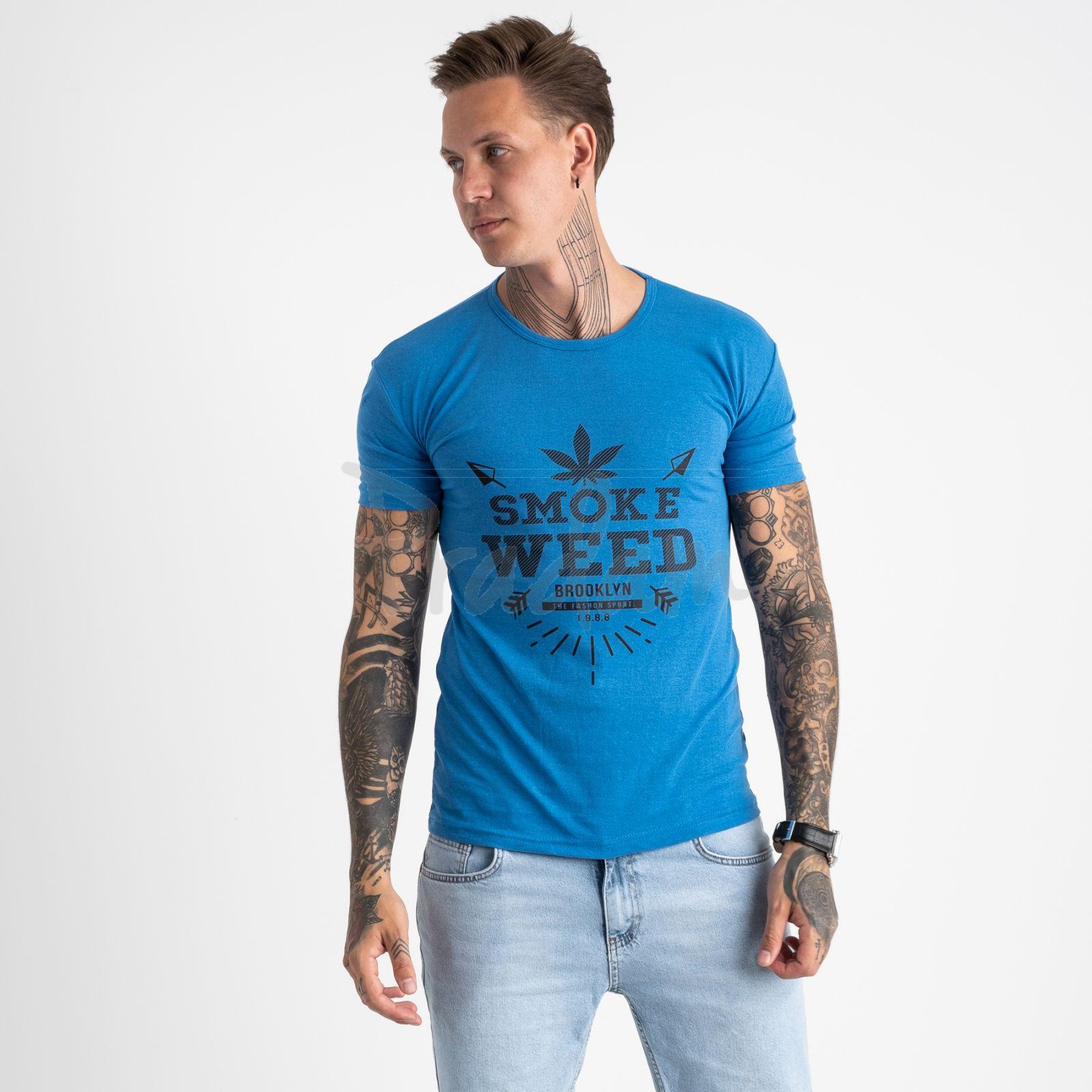 2613-12 голубая футболка мужская с принтом (4 ед. размеры: M.L.XL.2XL)