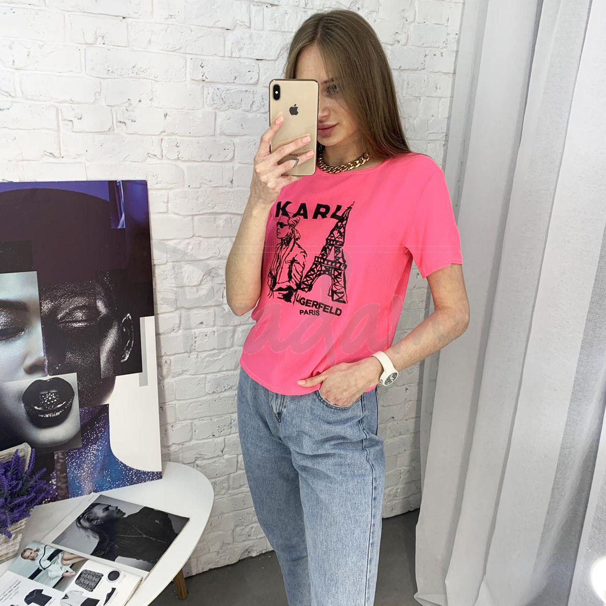 2056-3 футболка розовая женская с принтом (5 ед. размеры: 42.44.46.48.50)