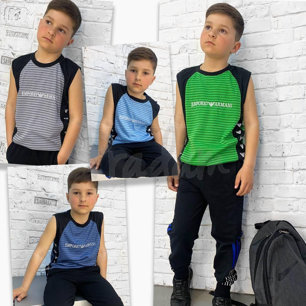2087 футболка-безрукавка подростковая на мальчика 8-12 лет микс 5-ти цветов (10 ед. размеры: S/3.M/3.L/4)