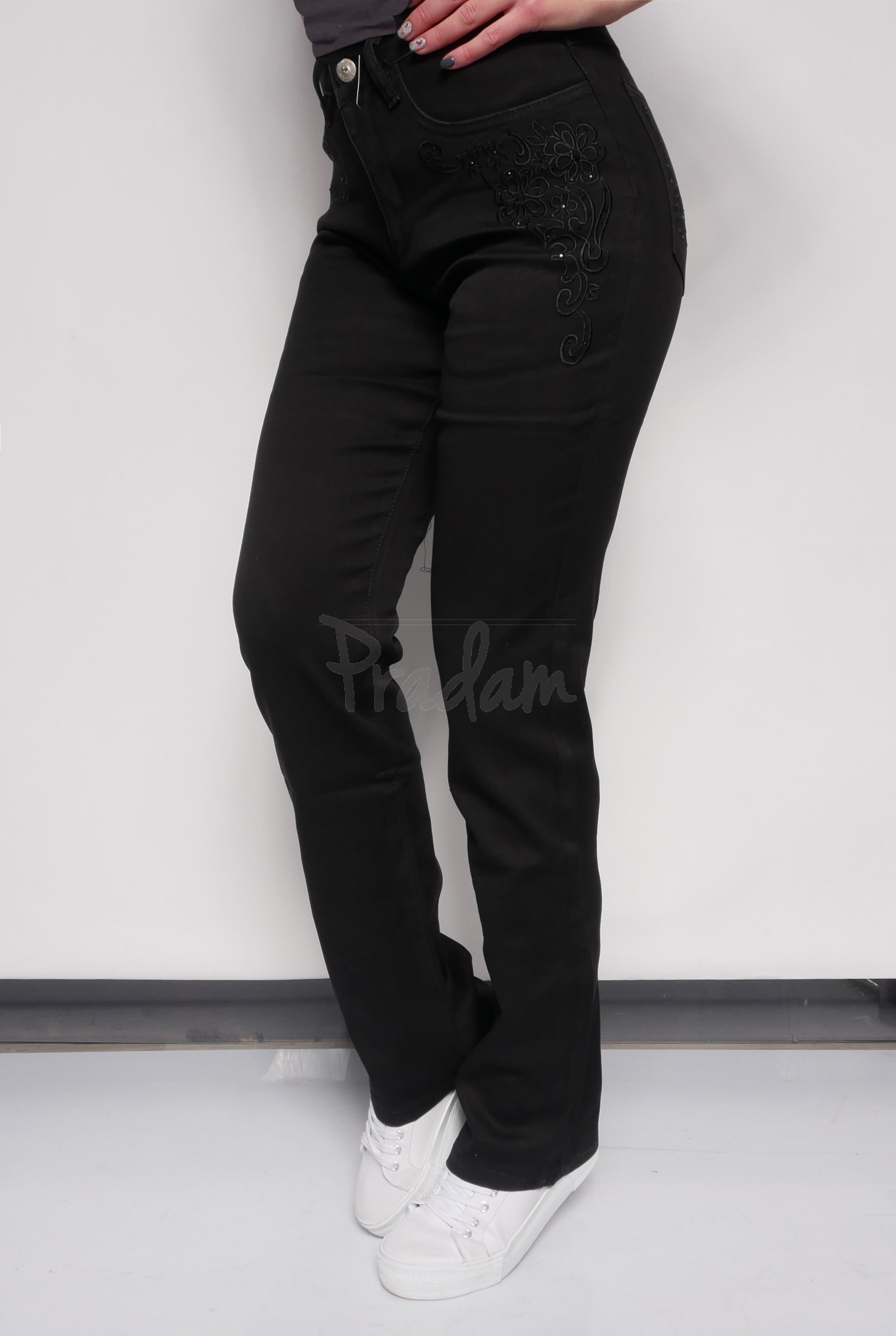 3ece3095e8106 ЦЕНА БОМБА!!! №1 Lafeidina джинсы женские прямые черные с вышивкой осенние  стрейчевые