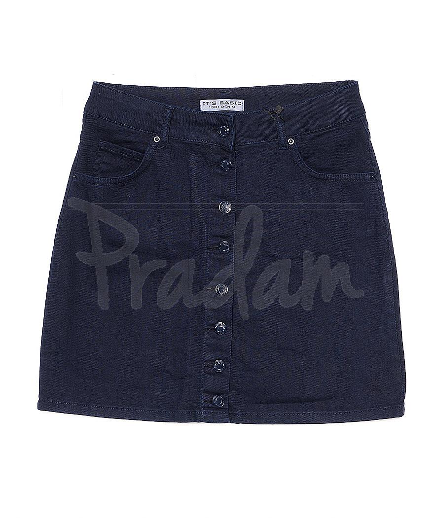 1301 NAVY BLUE It's Basic (34-40, 5 ед.) юбка джинсовая осенняя не тянется