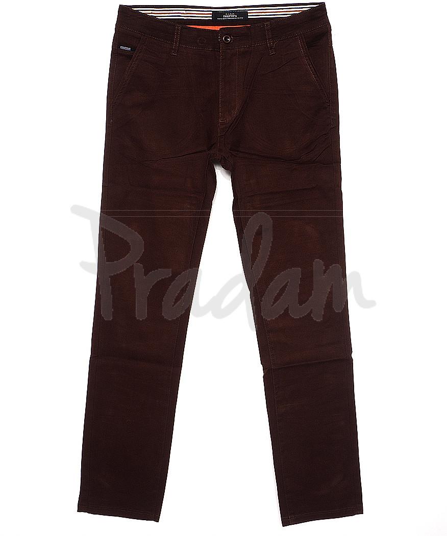 0038-31 Feerars брюки мужские с косым карманом коричневые весенние стрейчевые (29-38, 8 ед.)