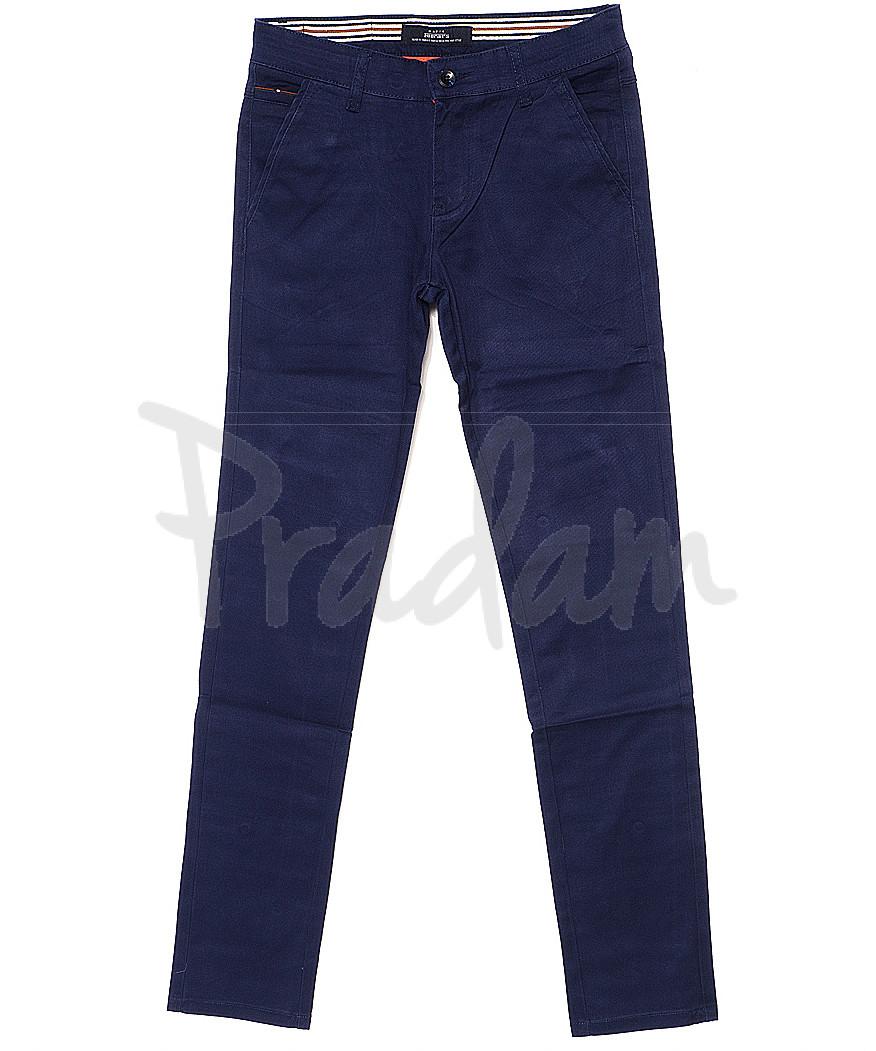0050-1 Feerars брюки мужские молодежные с косым карманом синие весенние стрейчевые (28-36, 8 ед.)