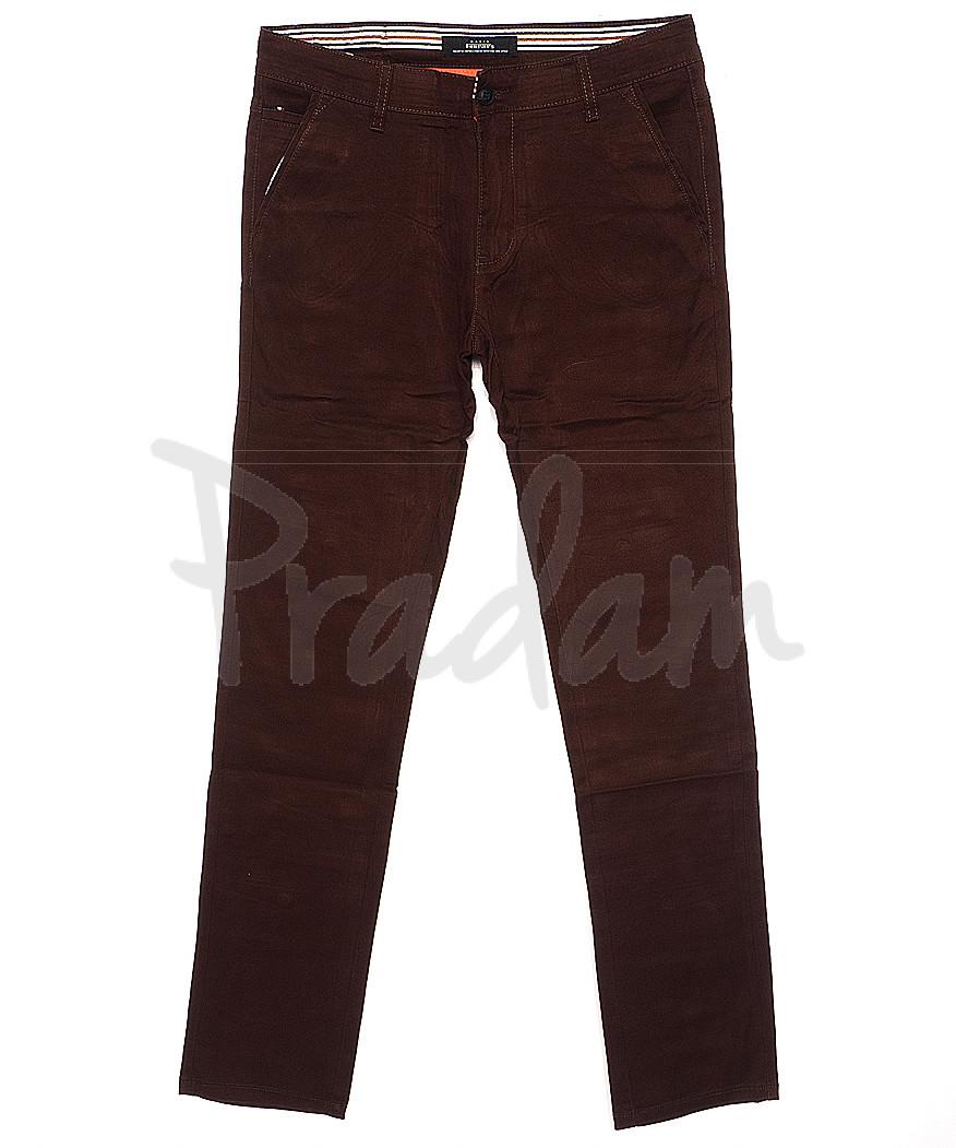 0050-31 Feerars брюки мужские молодежные с косым карманом коричневые весенние стрейчевые (28-36, 8 ед.)