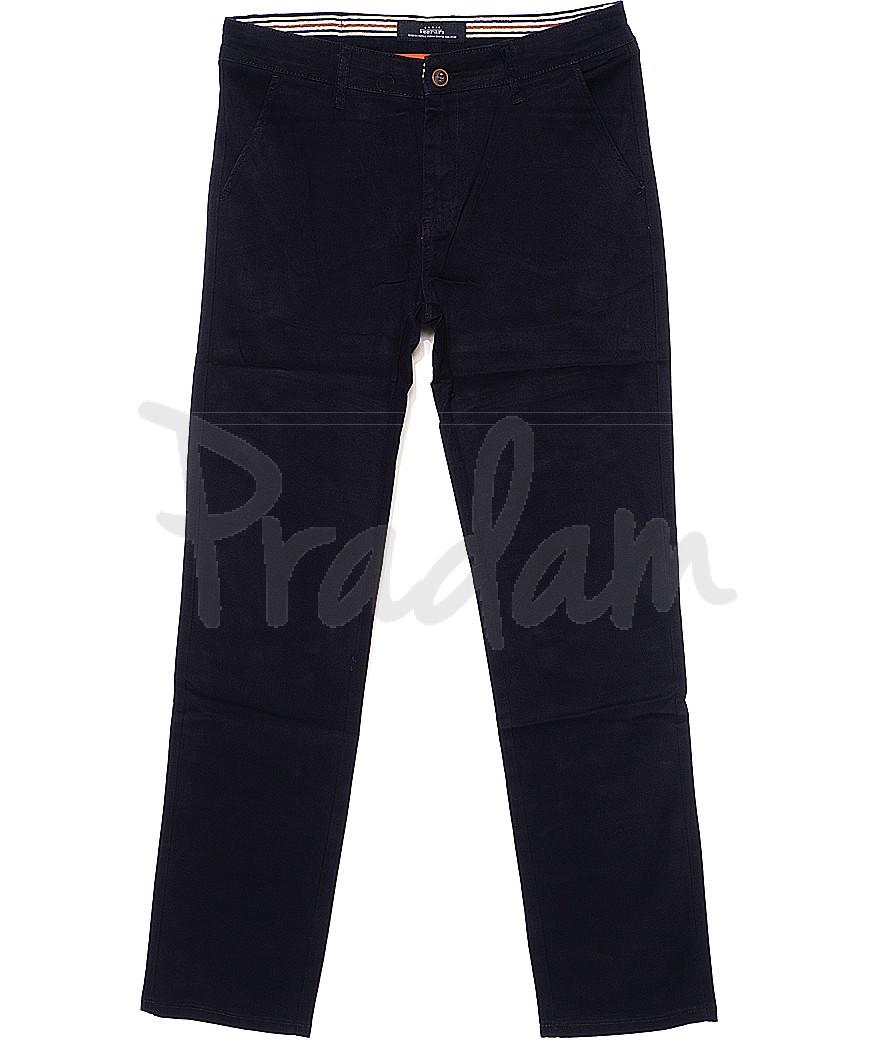 0037-D-5 Feerars брюки мужские батальные с косым карманом темно-синие весенние стрейчевые (32-42, 8 ед.)