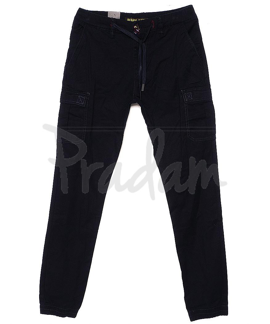 7658 (12) Regass брюки мужские темно-синие на манжете с карманами весенние стрейчевые (30-38, 8 ед.)