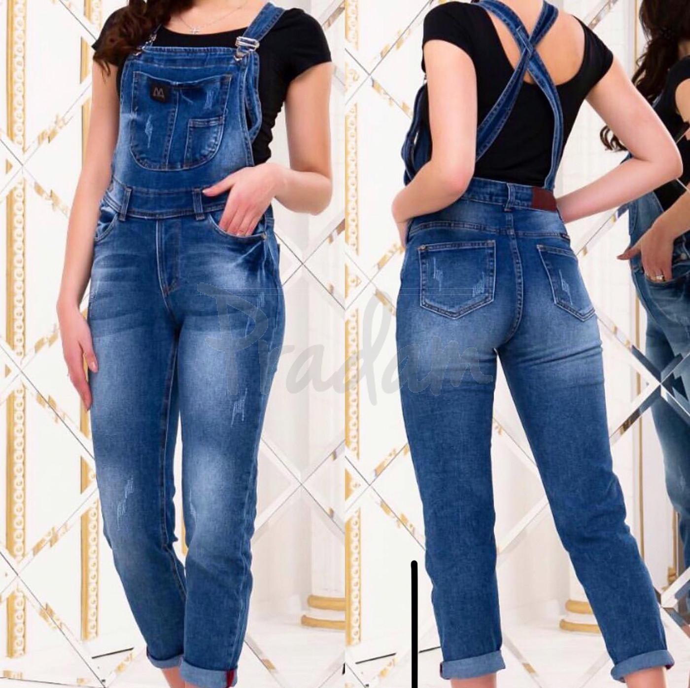 A 0336 Relucky комбинезон-джинсы женский с царапками стрейч-котон (25-30, 6 ед.)