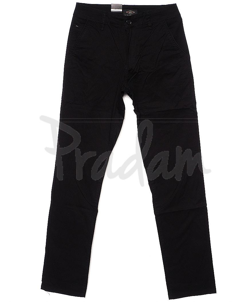 140055 LS брюки мужские черные с косым карманом весенние стрейчевые (29-38, 8 ед.)
