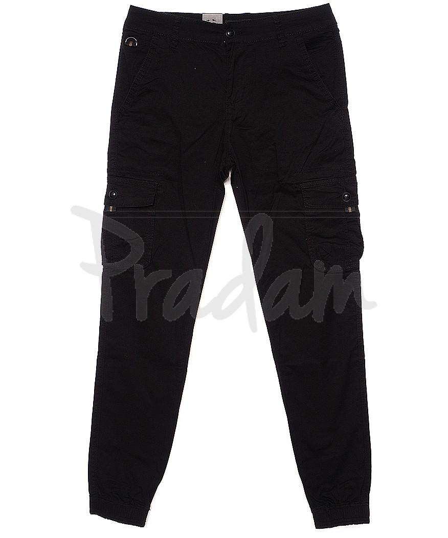 140054-X LS брюки мужские молодежные джоггеры черные весенние стрейчевые (27-34, 8 ед.)