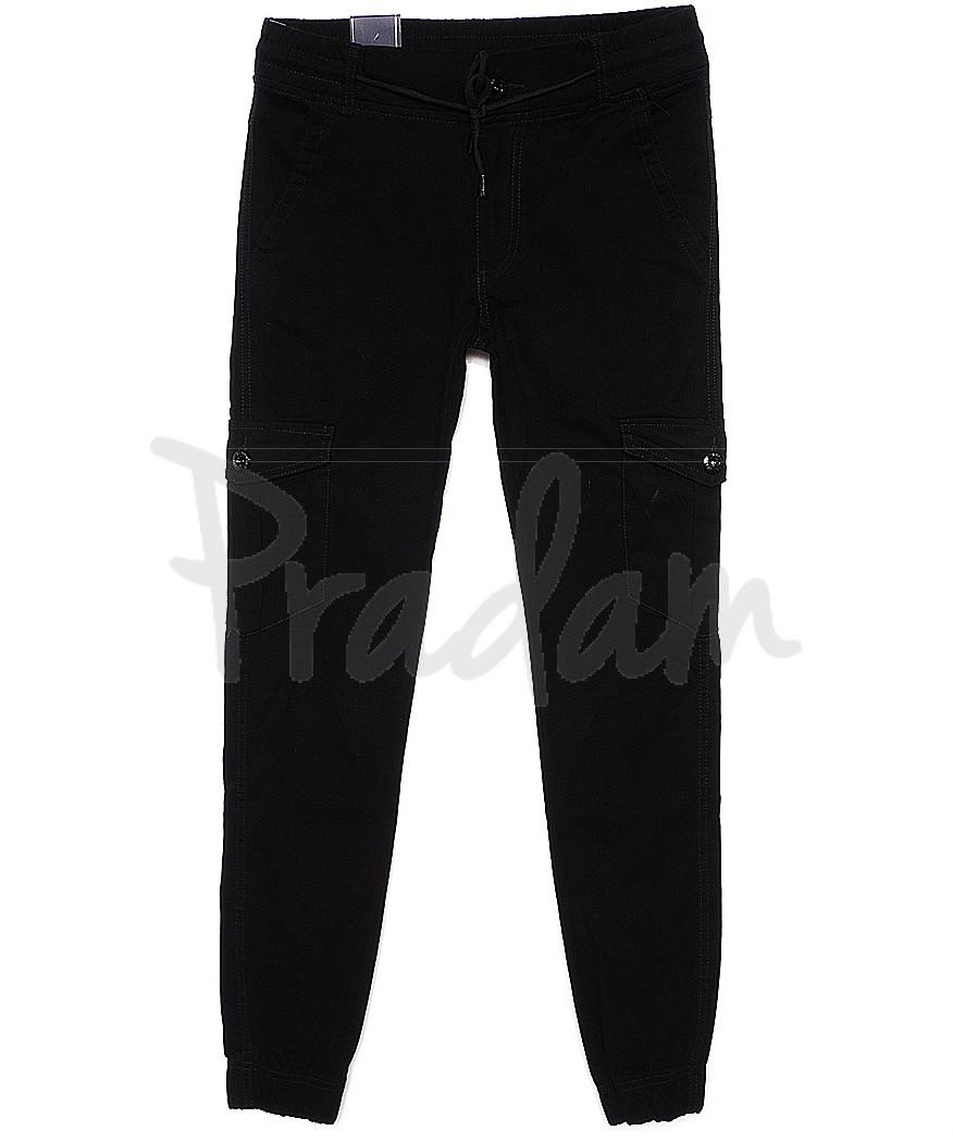 6020 Baron брюки мужские молодежные черные на манжете весенние стрейчевые (27-34, 8 ед.)